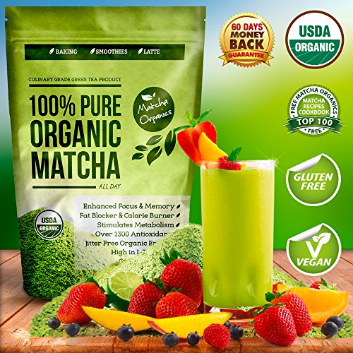 Organic Matcha Green Tea Powder Extract – 100% USDA Organic – Fat Burner & Weight Loss Diet Supplement – Energy & Mental Focus Booster – Lattes, Smoothies Shakes and Baking Mix – Gluten Free, Vegan Superfood – Amino Acid L-Theanine & Antioxidants – FREE Top 100 Matcha Recipe Ebook